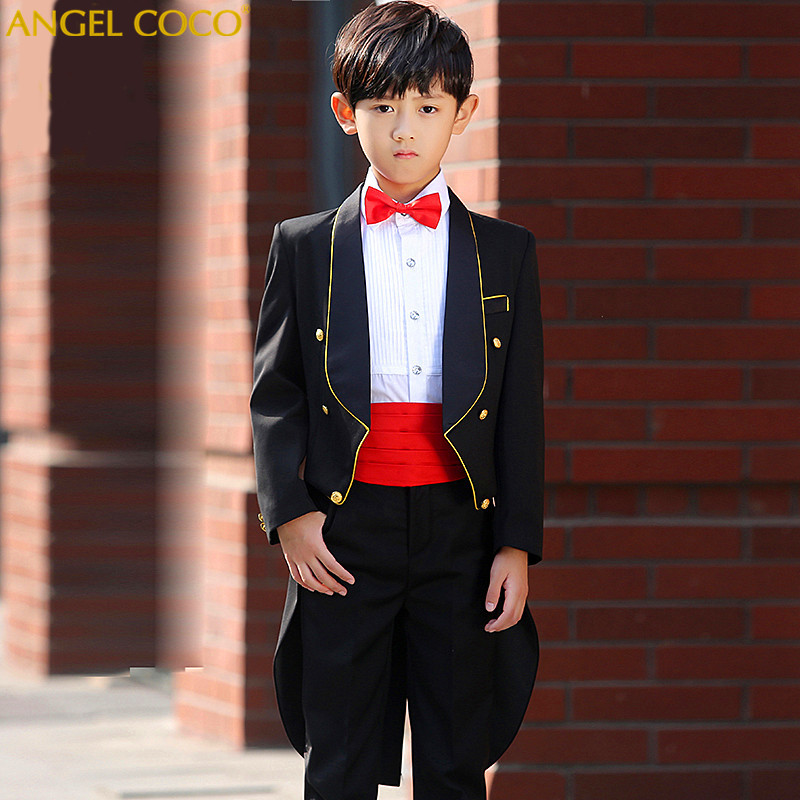 Fashion Classic Design Formal Dress For Boy Performance Tuxedo/Evening Party/Costumes Tailcoat (Jacket+Shirts+Pants+Belt+Tie) button up tailcoat