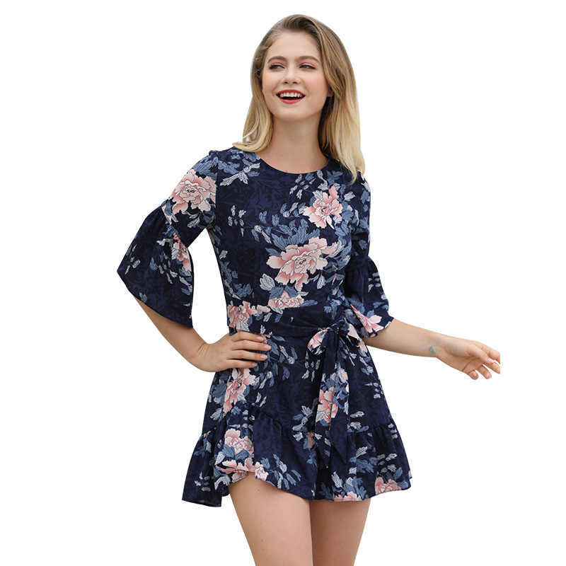 Yovamoo Fashion Vintage Bloem Zomer Jurk Half Mouw Bloemenprint Ruffle Korte Elegante Jurken Vrouwen Kleding 2018