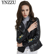 YNZZU New arrival embroidery women leather jacket 2019 Autumn Winter slim short PU coat Long sleeve chic Mote&biker jacker YO830