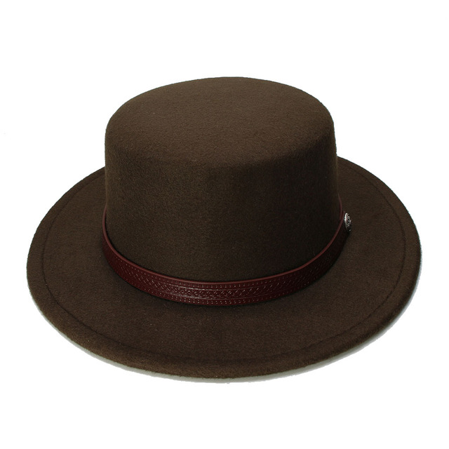 LUCKYLIANJI Retro Kid Vintage 100% lana ala ancha Pork Pie Porkpie sombrero  sólido café banda 80dc8907897