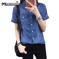 MEETMEFASHION Fashion Plus Size 2XL Denim Shirt Women Short Sleeve Turn Down Collar Blouse Jeans Female