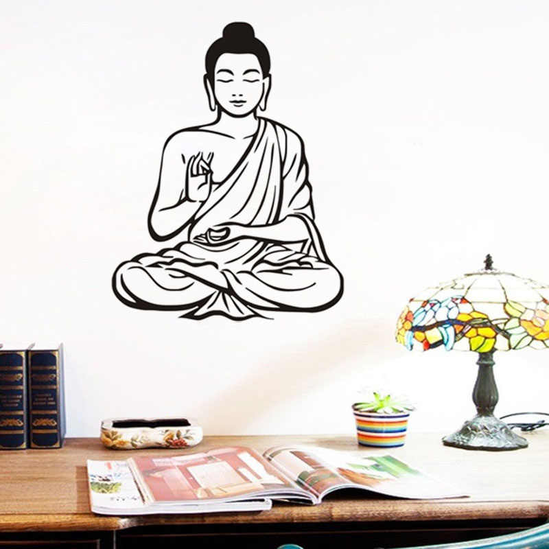 Meditating Buddha Art Wall Stickers Mural Design Buddhism Decal Removable Vinyl Sticker Home Decoration Wallpaper