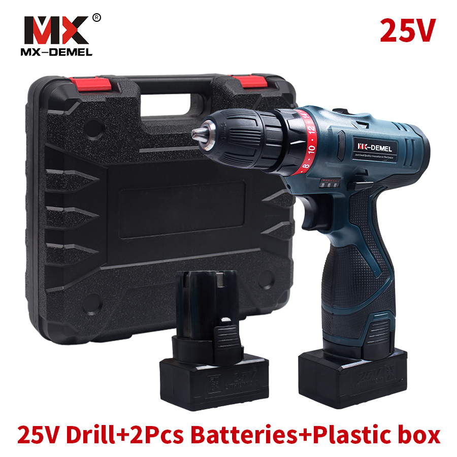 Longyun Style 25V Lithium Battery*2 Cordless Electric Drill Cordless Screwdriver Double Speed Electric Screwdriver Power Tools free shipping brand proskit upt 32007d frequency modulated electric screwdriver 2 electric screwdriver bit 900 1300rpm tools
