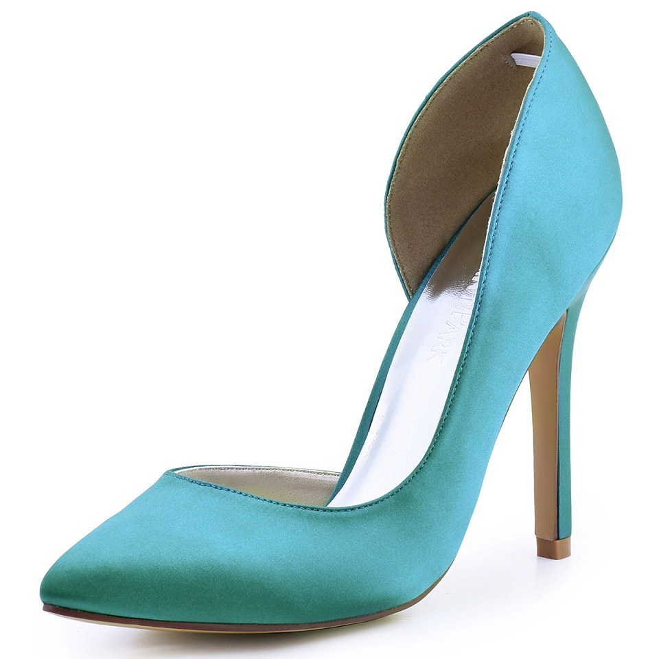 d7ae896011c Women Teal High Heel Wedding Shoes Pointy Toe D'orsay Satin Ladies Bridal  Prom Dress Evening Pumps HC1601 Champagne-in Women's Pumps from Shoes on ...