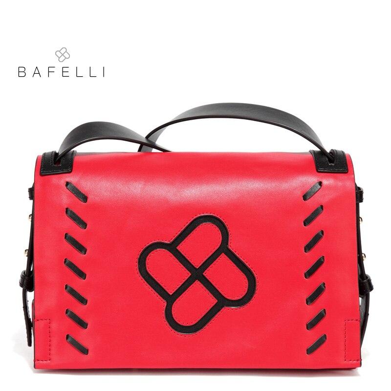 BAFELLI genuine leather shoulder bag autumn and winter new arrival crossbody bag vintage weave postman bag red black womens bag цена и фото