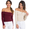 Sexy Off Shoulder Tops 2016 New Autumn Women Slash Neck Long Sleeve Cropped Tops Casual Knitted Women Shirt