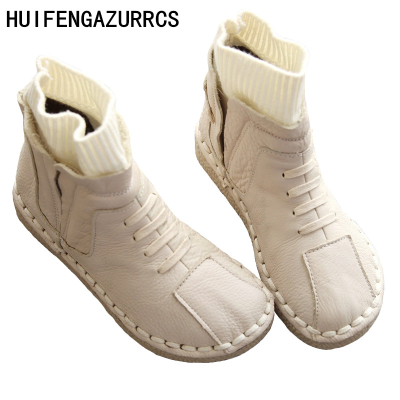 HUIFENGAZURRCS Pure handmade boots Genuine leather and Stitching of knitting wool shoes The retro art mori