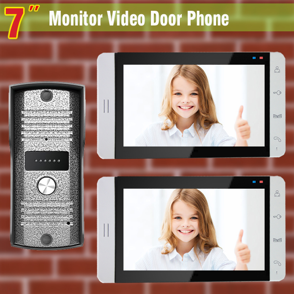 Wired 7 Video Door Phone Intercom System Video Doorbell Video Intercom Visual  Intercom 2-touch Monitor 1-Aluminium Alloy Camera