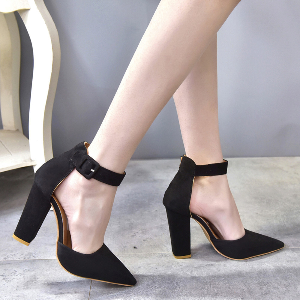 Fashion Women Buckle Strap Ladies Ankle High Heels Block Party Singel Shoes