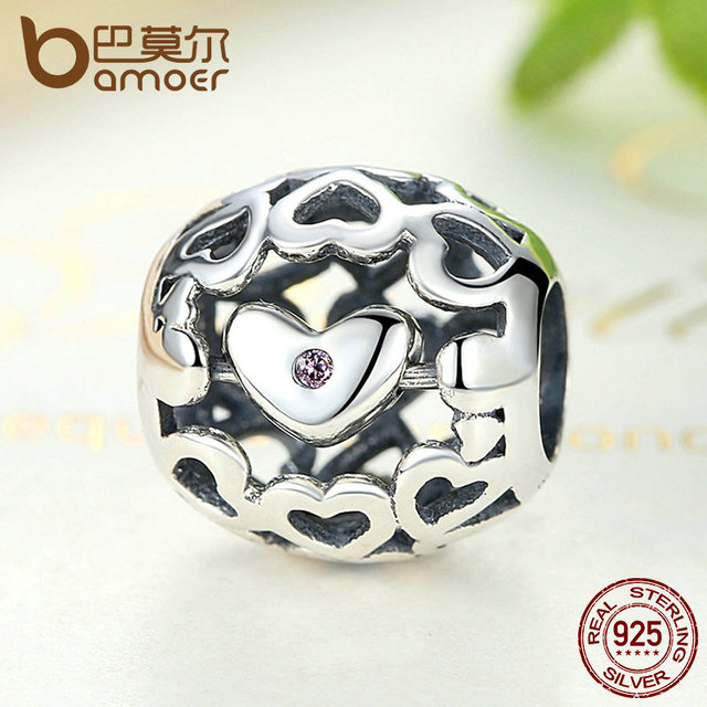 Sterling Silver Romantic Beads Pink Charm