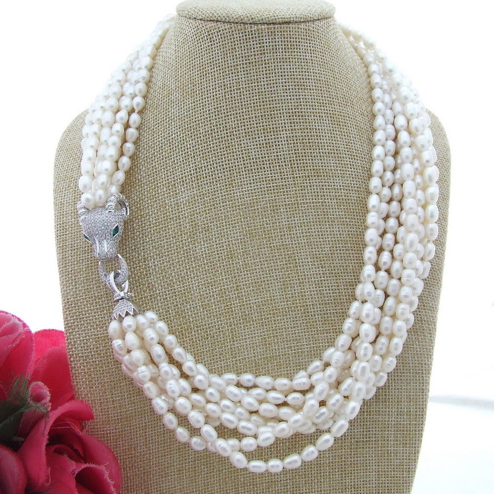 FC111104 21 9Strands White Rice Pearl NecklaceFC111104 21 9Strands White Rice Pearl Necklace