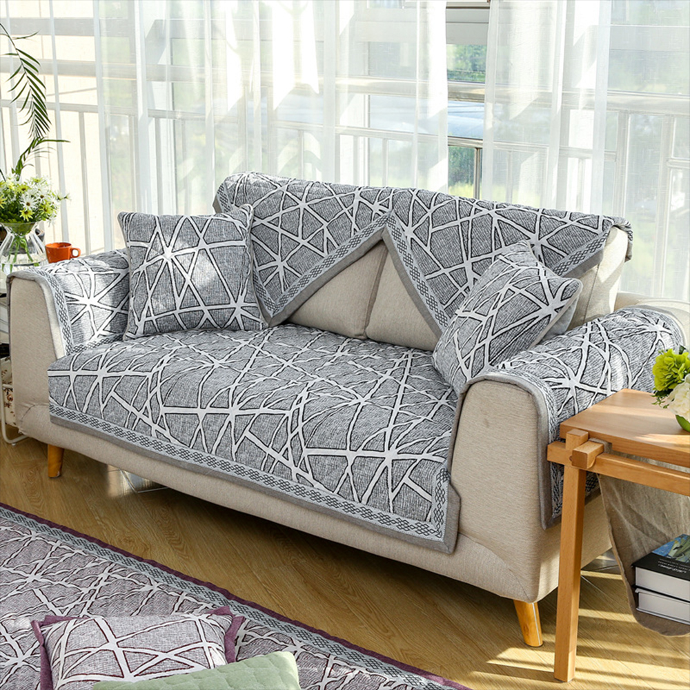 Dark Red Grey Geometric Design Sofa Cover Quilted