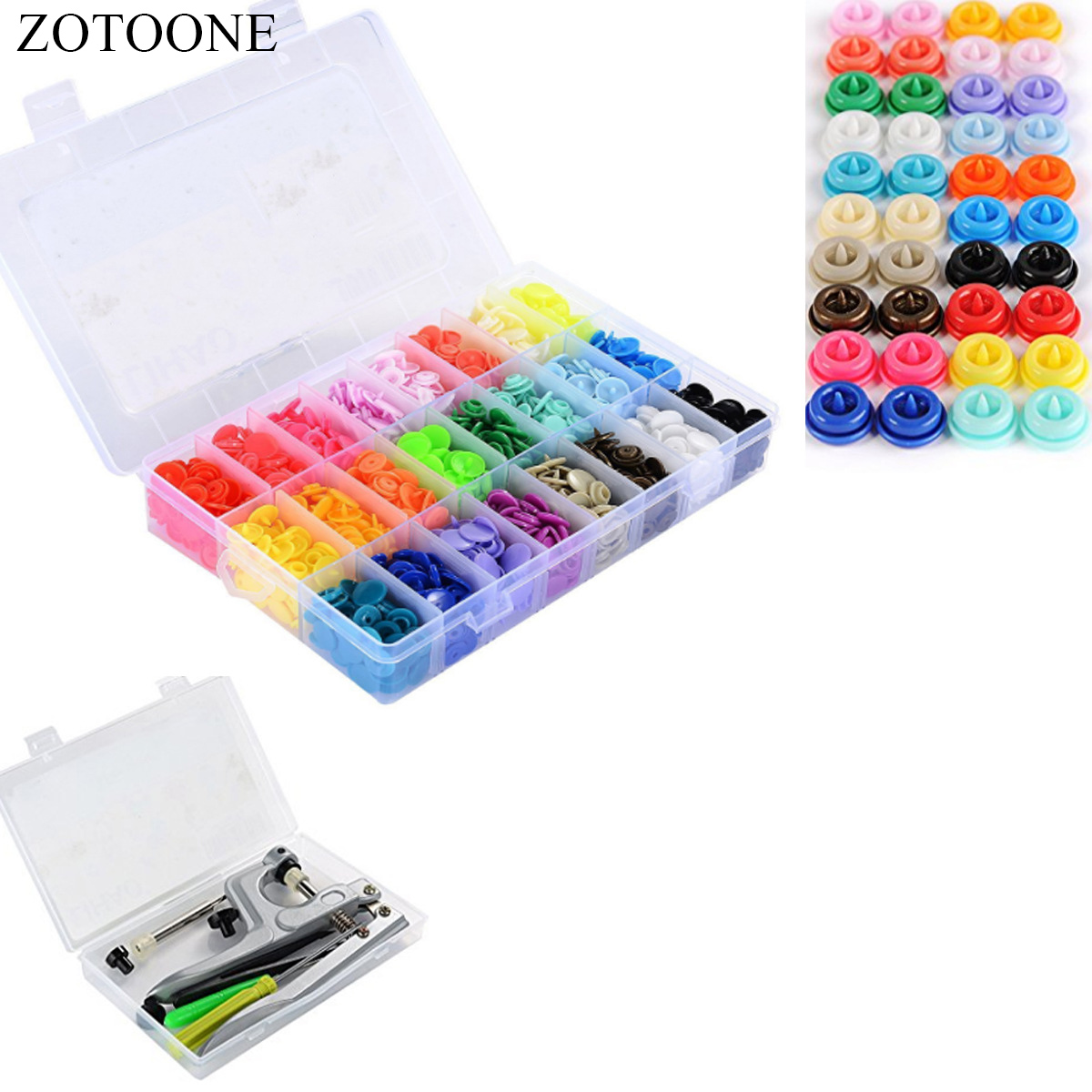 ZOTOONE Sewing Tools 360PCS Boxed Button T5 Plastic Snap Button And Hand Pressure Pliers Set For Sewing Tools And Accessories E