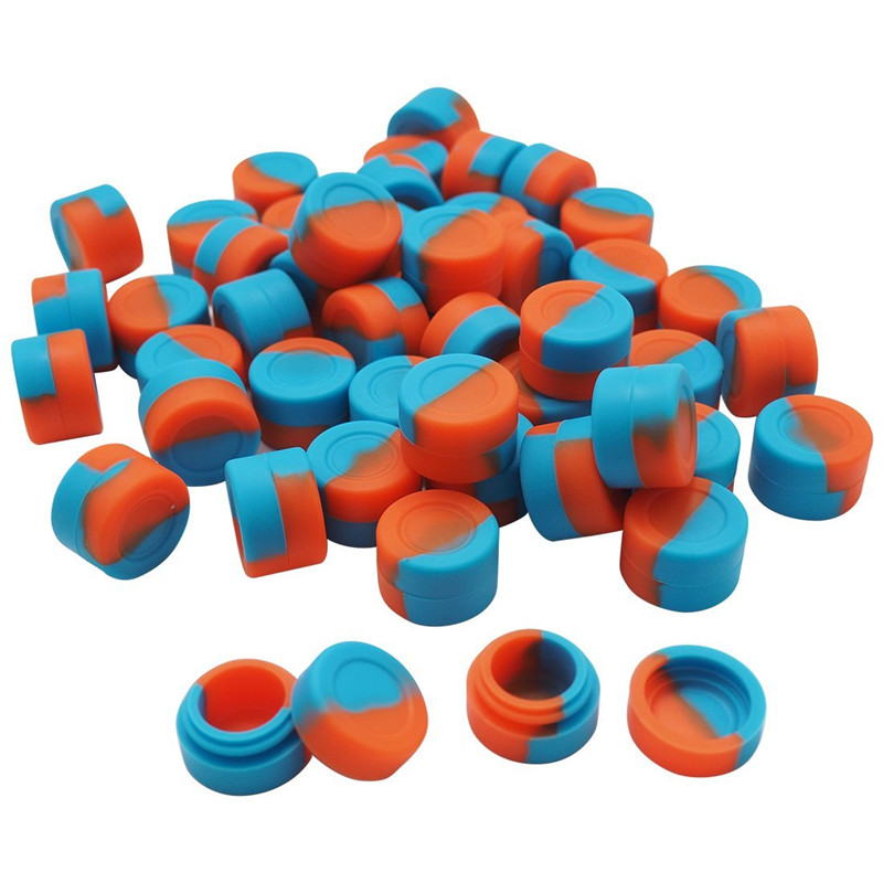 100 X Assorted Color 3ml Silicone Wax Oil Container Round Shape Silicone Container For Dry Herb Atomizer Oil Wax E Cigarette