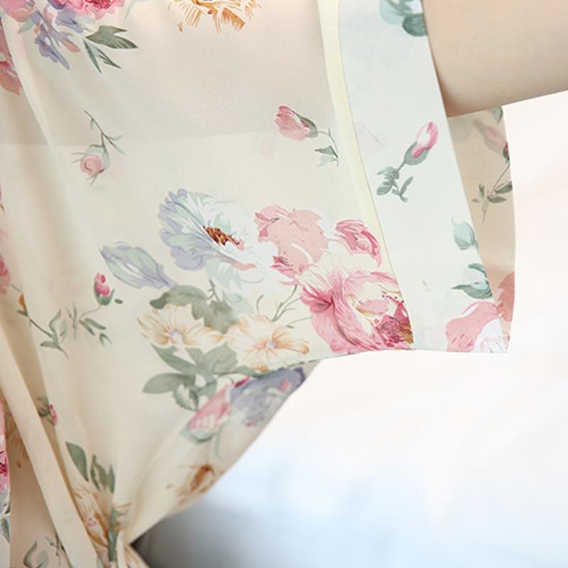 Sexy Women Deep-V Nightwear Robes printing chiffon Female Bathrobes Sleepwear Pajamas
