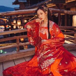 Image 3 - Hanfu elbise çin tarzı kadın/kadınlar kırmızı zarif Hanfu çin antik ve geleneksel giysiler halk dans kostümleri DQL350