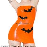 Оранжевый с черным украшения летучих мышей пикантные без бретелек платье латекса резиновая Футляр Bodycon Playsuit LYQ 0041