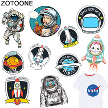 ZOTOONE Space Rocket Patch Astronaut Planet Stickers Iron on Transfers for Clothes T-shirt Accessory Appliques Heat Transfer F1