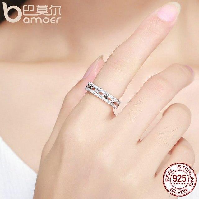 BAMOER Di Alta Qualità 925 Sterling Silver Elegante Splendido Melody Lettera X Sereno CZ Impilabile Anello Dei Monili di Cerimonia Nuziale Anel SCR146