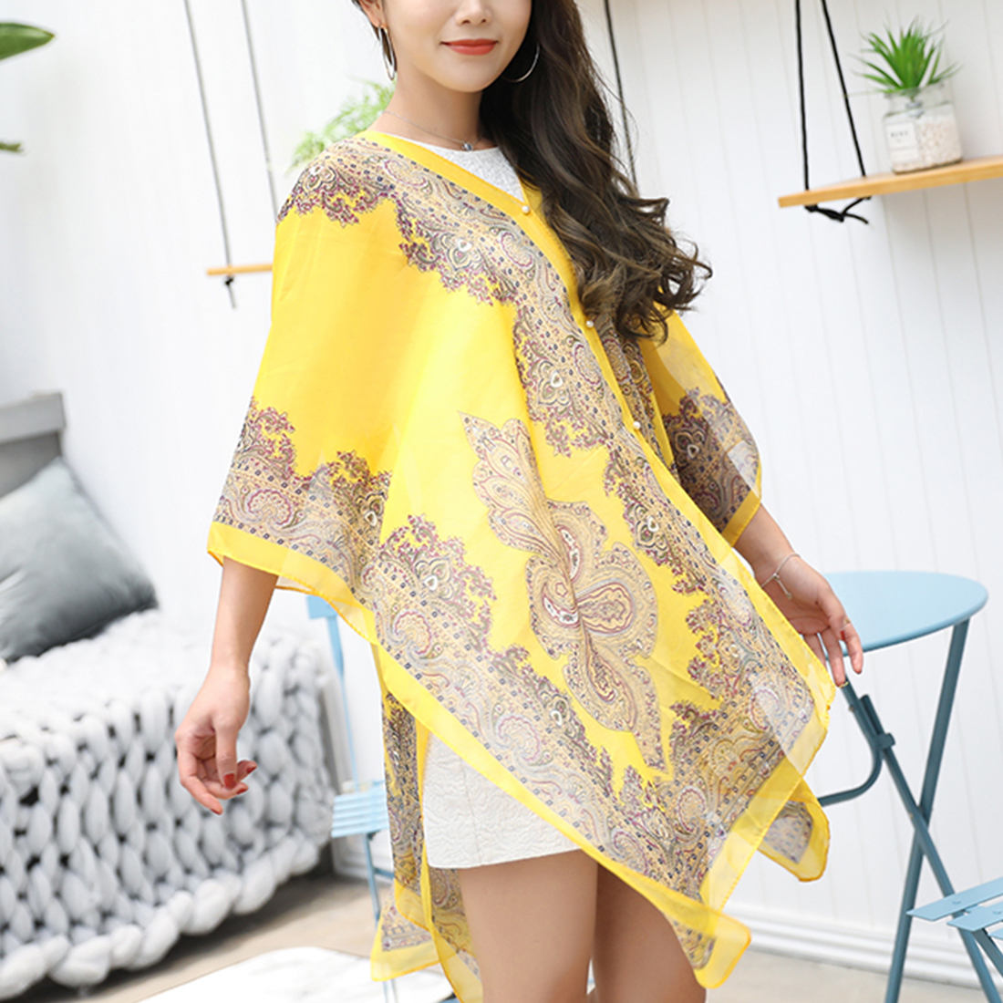Fashion Style Women Scarf Chiffon Print Shawls Clothes for Lady Female Wrap Long Summer  ...