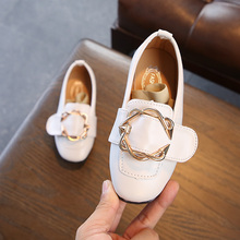 New leather princess shoes for girls kids flat school