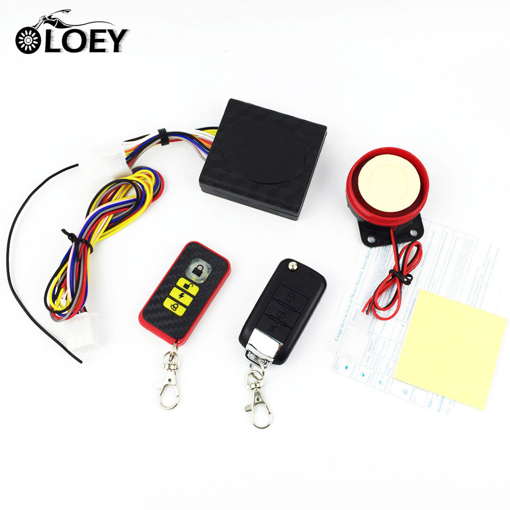 OLOEY 12v Universal Motorcycle Alarm Security System Moto Scooter Anti-theft Alarm Lock Protection Remote Control Engine Start