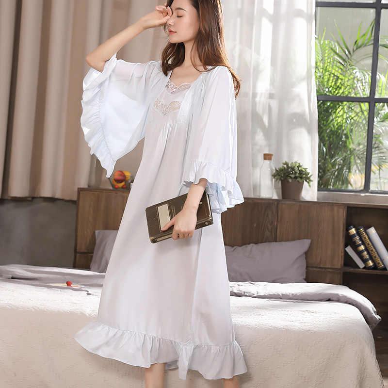 e1ea37042ca1d9d ... Викторианский платье Винтаж кружева рубашки Для женщин осень оборками  пижамы с длинным романтическая ночная рубашка хлопок
