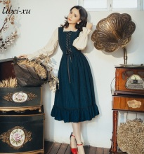 Ubei Vintage dress new false two-piece patched dress long butterfly sleeved French fashion style holiday dress 2Colors