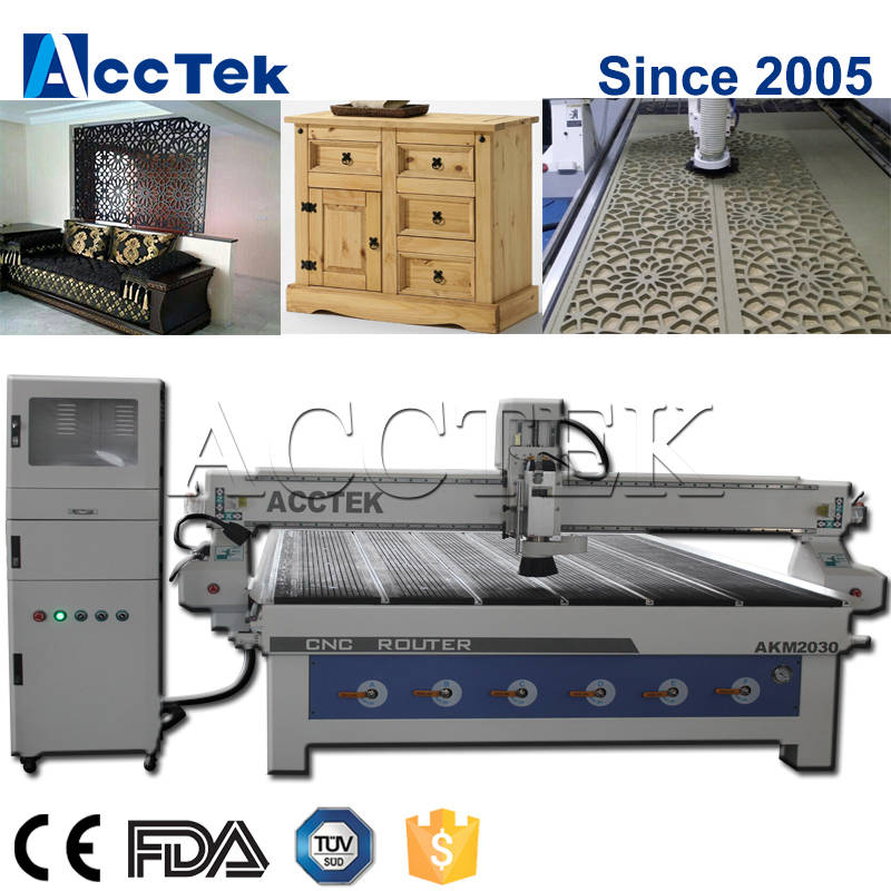 Jinan AKM2030 furniture, cabinet, door, window, signage wood router cnc machinery, acrylic cutting cnc router