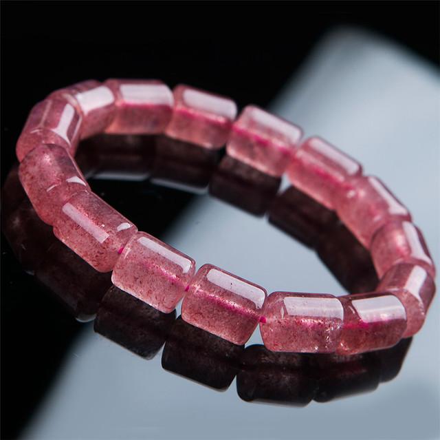 13*10mm Genuine Red Morango Quartz Bracelet Para As Mulheres Femme Charme Estiramento Pulseira Frete Grátis
