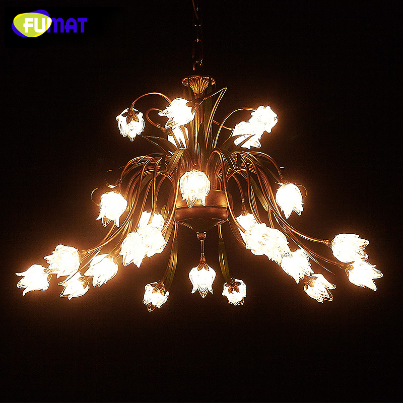 FUMAT European Style Metal Chandeliers LED American Brief Lightings For Living Room Creative Glass Artistic Flowers Chandelier design borosilicate glass led chandelier lightings turkey light