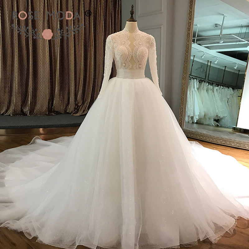Rose Moda High Neck Long Sleeves Wedding Ball Gown Lace Muslim Wedding Dress with Pearls Long Train Wedding Gowns 2018