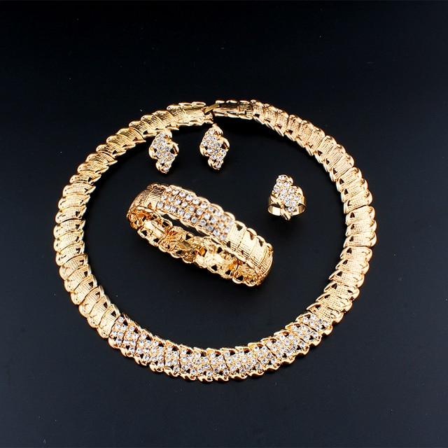 «Joias de casamento africanas dubai, conjunto de joias cor dourada romântica, conjuntos de joias de design de cor, colar com envio rápido 6