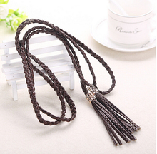 Summer Style All Match Weave Designer Belts for Women High Quality Fashion Thin Long Tassel Accessories Belt Chain