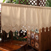 American Style Country Cotton Linen Crochet Coffee Curtain Multi Function Decorative Short Curtan 150cm Width