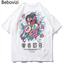 Bebovizi Hip Hop Tops & Tees Streetwear Satan T-Shirts Harajuku Japan Style Tshirt 2019 Men Summer Short Sleeve Loose T Shirt все цены