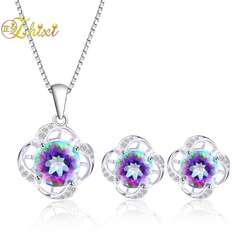 ZHIXI 925 ensembles de bijoux en argent Sterling pour les femmes topaze naturelle bijoux de pierres précieuses coloré nouveau cadeau d'anniversaire à la mode croix ZXT240DE