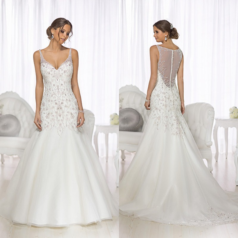 A Line V Neck Sheer Strapless Bling Beads Crystals Long Wedding Dresses 2015 Sexy Illusion Plus Size D1719 In From Weddings
