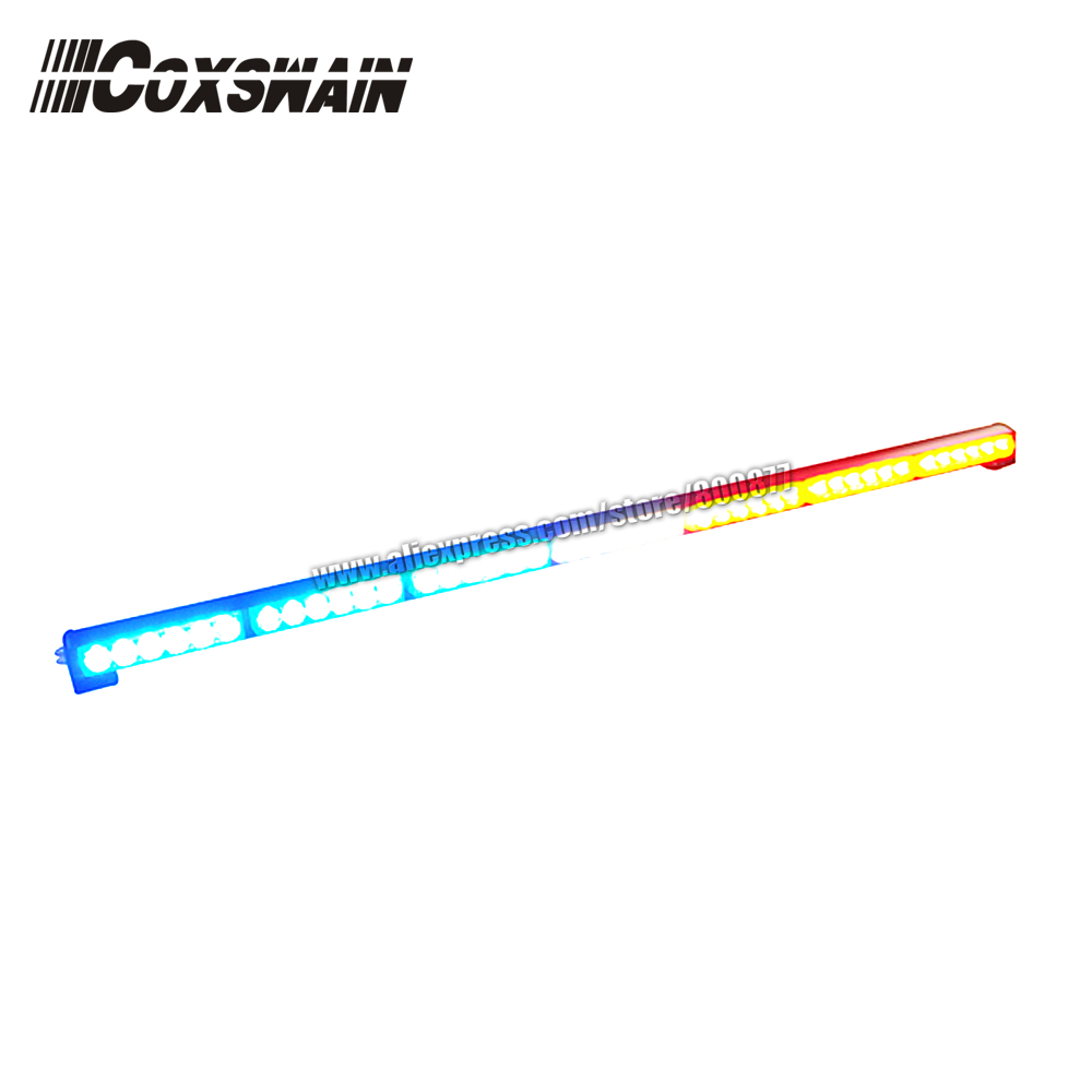 Coxswain Super Bright Car LED Traffic Advisor Warning Light Bar, 42 X 1W LED, 7 Flash Pattern, 110CM Length (SA-618-7)