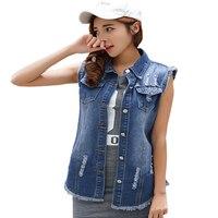 Spring Summer Denim Vest Female Slim Causal Sleeveless Jacket Turn Down Collar Pockets Ladies Waistcoat Buttons