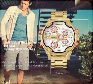Image 5 - Relogio Masculino Cagarny תאריך אוטומטי שעון יד צבאי אנלוגי מותג Casaul Mens קוורץ שעונים להקת זהב שעונים גברים שעון D6280Z