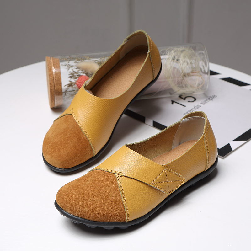 Spring Summer PU Genuine   Leather   Women Flat Shoes Plus Size 43 Women Flats Chaussures Femme Slip On Women Loafers Flat Shoes