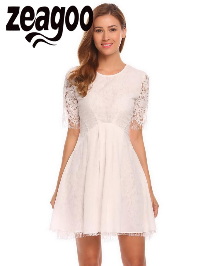 None Floral Casual O-Neck Medium Sleeve Women Lace A-Line Pleated Sexy Dress
