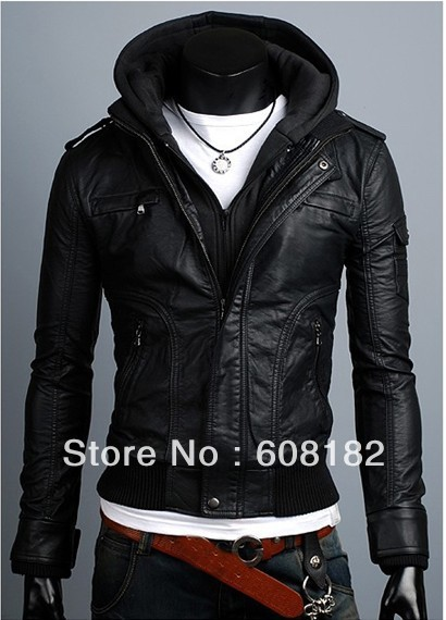 New Fashion Man long Jacket  male leather(PU)  winter coat  warmer sweatshirts  201208087