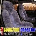 100% material de piel de oveja de piel cubierta de asiento de coche cojín 5 asientos cubiertas para 1 Unidades sensación de calor suave cubierta de asiento de coche cojín