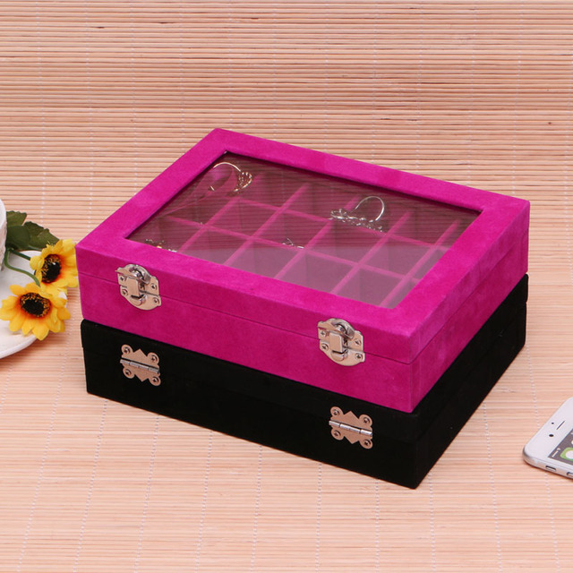 JAVRICK 24 Grid Velvet Jewelry Display Case Glass Top Jewelry Box