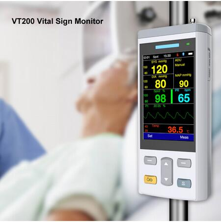 2018 Handheld Vital Sign Monitor provide 24 hour monitoring patient measurements including NIBP, pulse,  SpO2 and temperature. heliotrop vital q10 104 he794