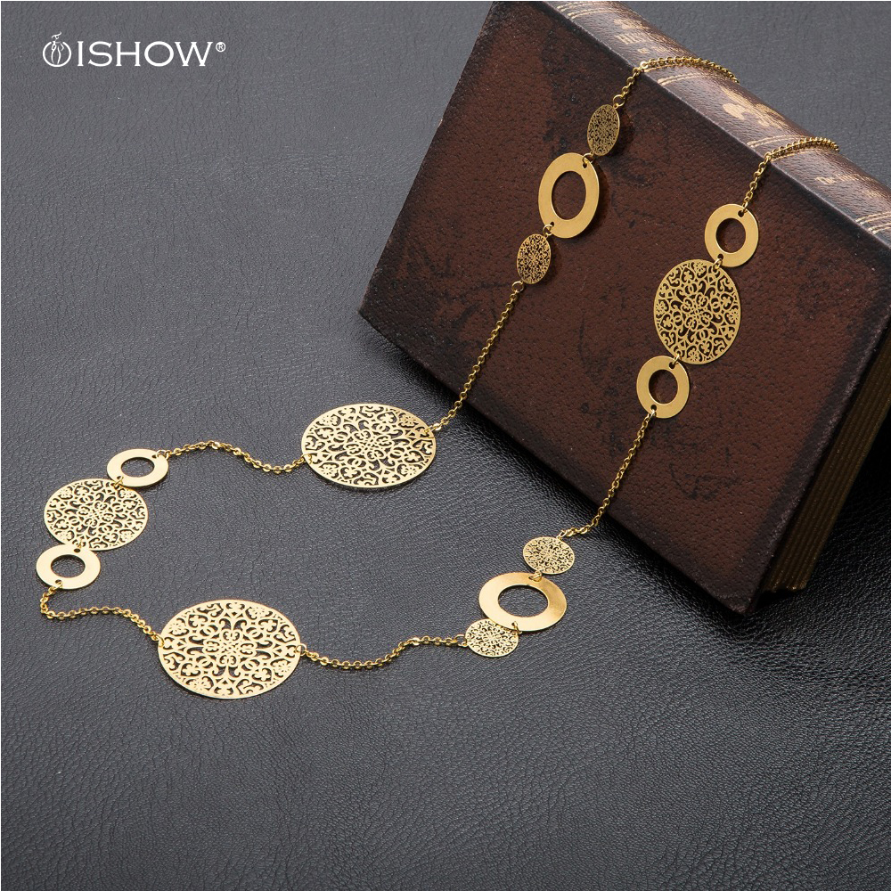Filigree Long Statement Long Necklace Women Vintage Boho Layering Necklaces Floral Hollow Copper Chain Jewelry ethnique Colares