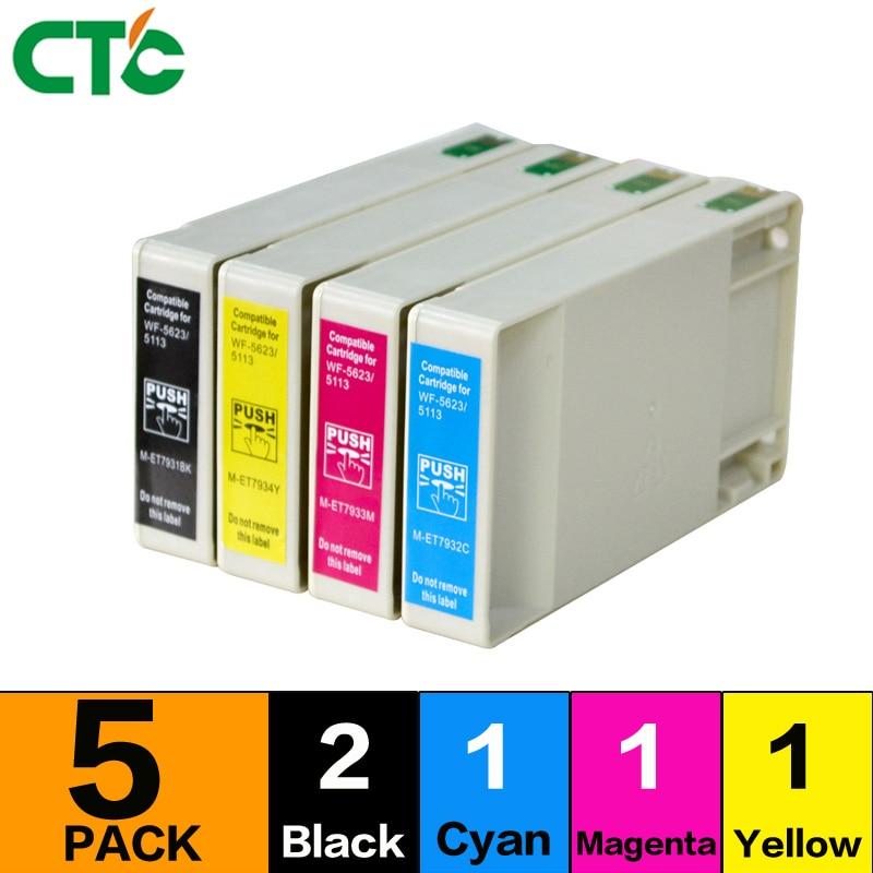 5X T676xl Compatible Ink Cartridge For workForce Pro WP-4090 WP-4520 WP-4530 WP-4540 WP-4590 WP-4533 printer