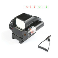 Tactical Holographic 1x22x33 Reflex 4 Reticles Red/Green Dot Sight Scope w/Red Laser for Airsoft Standard Weaver Rail